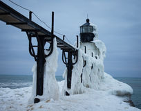 Frozen Winter Lighthouse. St. Joseph North Pier Lighthouse in January Stock Photos