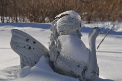 Frozen Winter Nymph in Snow Royalty Free Stock Images
