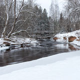 Frozen winter river landscape Stock Photography