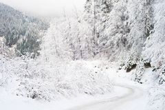 Mountains winter road covered snow Stock Photo