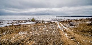 Frozen winter scenes on great lakes Royalty Free Stock Photography