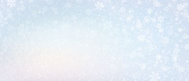 Frozen winter snowflakes background. Snowflakes and snowfall on a cold blue winter background royalty free stock photo