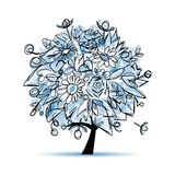 Frozen winter tree floral for your design Stock Image