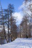 Frozen Winter Wonderland pathway. Winter Wonderland path, Winter trail, Postcard scene. Winter hiking path in frozen forest royalty free stock image
