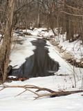 Frozen winters stream. A picturesque winter scene landscape with a small creek stream running through the snow, and a winter Woodland forest of trees Royalty Free Stock Photography