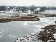 Frozen Wislok in Rzeszow Stock Photo