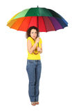 Frozen woman in shirt with umbrella Royalty Free Stock Photos