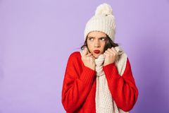 Frozen woman wearing winter hat and scarf isolated over purple background. Portrait of a young frozen woman wearing winter hat and scarf isolated over purple stock image
