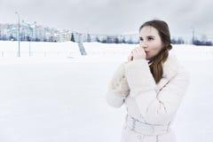 Frozen woman Royalty Free Stock Photo