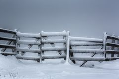 Frozen wooden fence Royalty Free Stock Photography