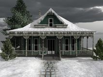 Frozen wooden house Stock Image
