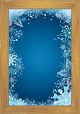 Frozen wooden window Stock Image