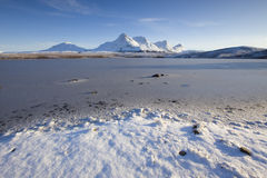 Frozen world. Ben Loyal in the Highlands of Scotland Stock Image