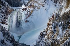 Free Frozen Yellowstone Canyon Waterfall, Frozen In Winter Royalty Free Stock Photos - 141047258