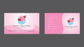 Frozen yogurt shop business card template Royalty Free Stock Photos