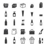 Förpackande symbolsuppsättning Fotografering för Bildbyråer