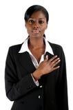förplikta kvinna för affär Arkivfoton