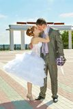 Försiktig kyss för brud och för brudgum Royaltyfria Bilder