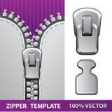 Försilvra den realistiska vektorillustrationen för zipperen Arkivbild