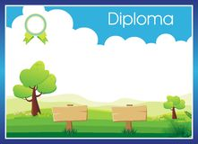 Förskole- elementärt - bakgrund för dagisdiplomcertifikat Royaltyfria Foton