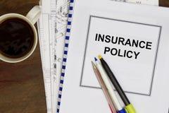 Försäkringpolitik Arkivfoto