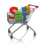 Försäljning i shoppingvagn Arkivfoto