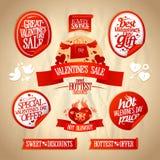 Försäljningen för dagen för valentin` s planlägger samlingen. Royaltyfria Foton