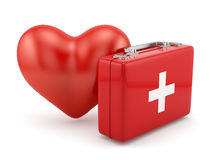 Frst aid kit with heart shape. 3d render of first aid kit with heart shape isoalted on white background Stock Photos