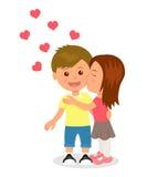 första förälskelse Pojke och flicka som kramar och kysser Begreppsdesign av det romantiska förhållandet mellan en man och en kvin Royaltyfri Fotografi