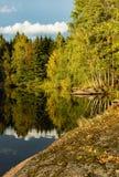 Första höstdagar vid en sjö Fotografering för Bildbyråer