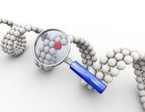förstoringsapparat 3d och unik molekylär dna-beståndsdel Arkivfoton