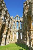 Förstörda inre väggar Whitby Abbey i North Yorkshire i England Arkivfoto