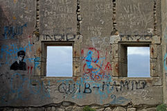 Förstört hus, Quiberon, Brittany Fotografering för Bildbyråer