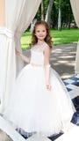 Förtjusande le liten flicka i prinsessaklänning Royaltyfri Foto