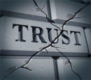 förtroende för broken symbol Arkivbild