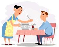 Fru och maka royaltyfri illustrationer