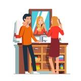 Fru och make som gör personlig hygien för morgon royaltyfri illustrationer