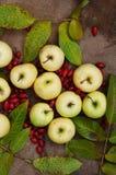 Frucht, Äpfel, Herbstlebensmittel, gelbe Früchte, süße gelbe Äpfel, Herbsternte, Blätter, Ansicht von oben, grüne Äpfel im Herbst Lizenzfreies Stockbild