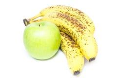 Frucht; Apfel und Bananen stockfoto