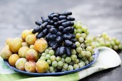 Frucht auf einer Platte Stockfoto