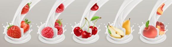 Frucht, Beeren und Jogurt Realistische Abbildung Drei Farbikonen auf Pappumbauten vektor abbildung