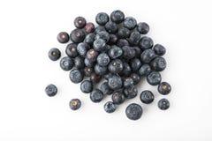 Frucht: Draufsicht von frischen Blaubeeren auf weißem Hintergrund lizenzfreie stockfotos