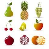 Frucht farbige Ikonen lokalisiert auf weißem Hintergrund, Vektor Trägt einfach Früchte lizenzfreies stockfoto