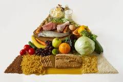 Frucht, Gemüse, Fleisch, Milch, Mutter, Brot und Käse getrennt auf Weiß Stockfotografie