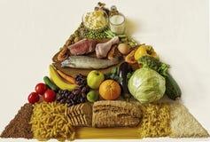 Frucht, Gemüse, Fleisch, Milch, Mutter, Brot und Käse getrennt auf Weiß Lizenzfreies Stockfoto