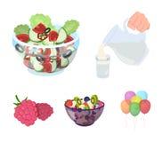 Frucht, Gemüsesalat und andere Arten Lebensmittel Vector gesetzte Sammlungsikonen des Lebensmittels in der Karikaturart Symbolvor Lizenzfreies Stockbild