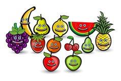 Frucht-Gruppen-Karikatur-Illustration Lizenzfreies Stockfoto