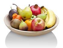Frucht-hölzerne Schüssel-Nahrung Lizenzfreie Stockfotografie