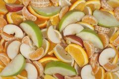 Frucht-Hintergründe - Orange, Zitrone, Mandarine und Apple Lizenzfreie Stockbilder