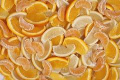 Frucht-Hintergründe - Orange, Zitrone und Mandarine Lizenzfreie Stockbilder
